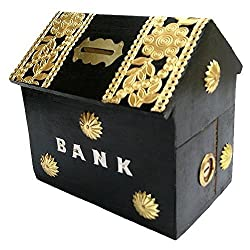 Craftgasmic Handicrafted Wooden Money Bank Home Style Black Kids Piggy Coin Box GiftsHandicrafted Wooden Money Bank Home Style Black Kids Piggy Coin Box Gifts