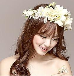 Women Wedding Rose Flower Wreath headband Kids Party Floral garlands Ribbon Adjustable flower crown Hair Accessories (White)
