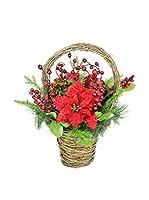 Decoracion Navideña Planta Artificial Navidad Poinsettia & Acebo