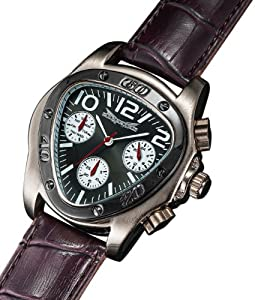 Mens Triangle Face Watch Burgundy Leather Strap Multifunction 24 Hr Day Date Sarastro AQ202501G