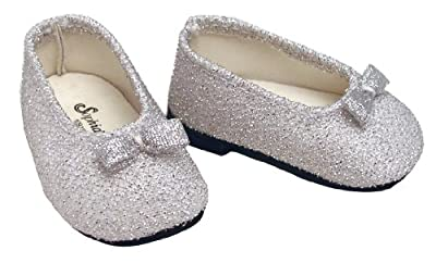 Silver Glitter Doll Dress Shoes fits American Girl 18 Inch Dolls from Sophia's
