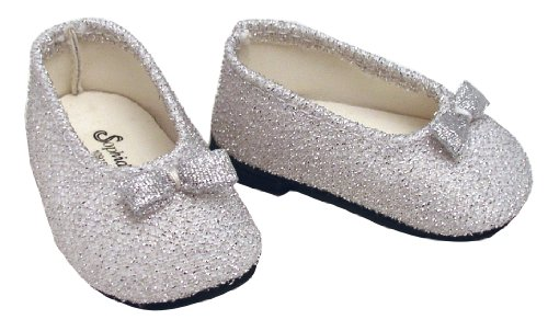 Silver Glitter Doll Dress Shoes fits American Girl 18 Inch Dolls