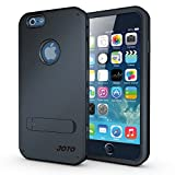 """iPhone 6 4.7 Case - JOTO iPhone 6 4.7"""" Hybrid Tri Layer Armor Cover Case with Kickstand (Flexible TPU + double Hard PC), Exclusive for Apple iPhone 6 4.7 inch (2014) (Dark Blue, Black)"""