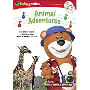Baby Genius Animal Adventures DVD w/Bonus Music CD movie