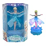 Lvjing 2014 New Arrival Disney Frozen Flying Fairy Barbie Doll Sparkle Princess Elsa Doll Helicopter + LED Light + Remote Pedestal + Auto Induction Function + Theme Music/let It Go (Blue)
