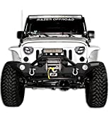 Razer Auto Black JK Jeep Wrangler Front Bumper with Fog Light Holes & D-Rings & Winch Plate