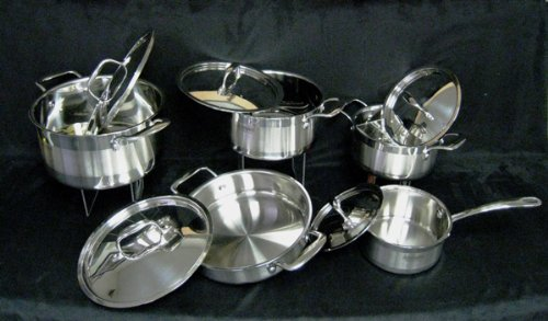 Black Friday Deals 10-Piece All Purpose Stainless Steel Professional Multiclad Cookware Pans