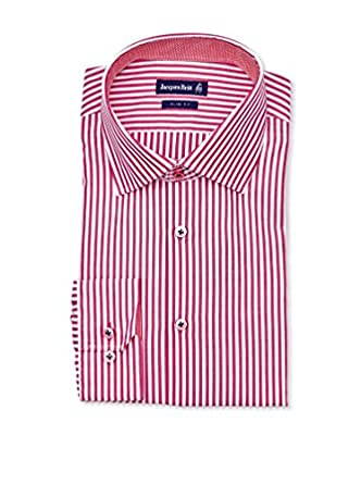 Jacques Britt Hemd Slim Fit 40, rot/gestreift