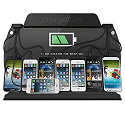 ChargeTech - WM9 Wall Mounted Cell Phone Dock Charging Station w/ 8 Universal Charging Tips Included for All Devices: iPhone, iPad, Samsung Galaxy, Note Tab, Nexus, HTC, Motorola, Nokia, GoPro