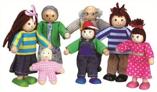 Wood Family Doll House Figures