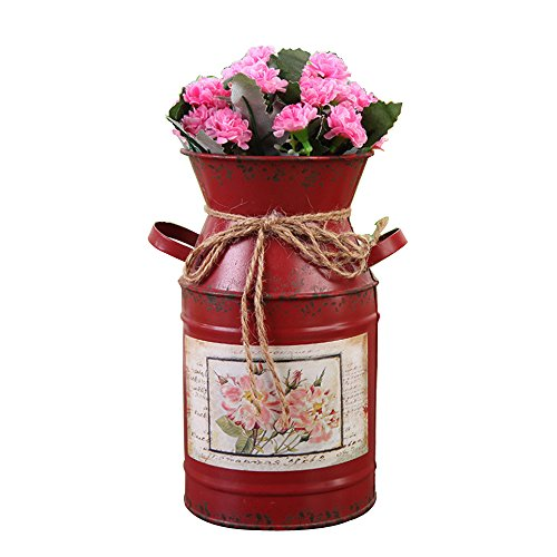 Watering Honey 7.5inch Antique Styled Metal Galvanized Milk Can with Tied Decoration-Red (Milk Cans Antique compare prices)