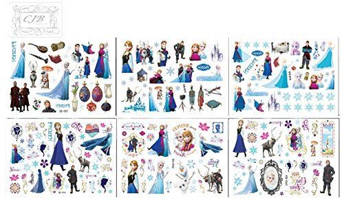 CJB Frozen Elsa Anna 90 Mixed Design (in 6 Sheets) Temporary Tattoo Set (US Seller) - 1