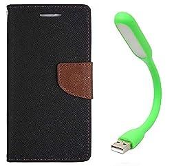 Novo Style Book Style Folio Wallet Case Samsung GalaxyJ1 Ace Black + Mini USB LED Light Adjust Angle / bendable Portable Flexible USB Light