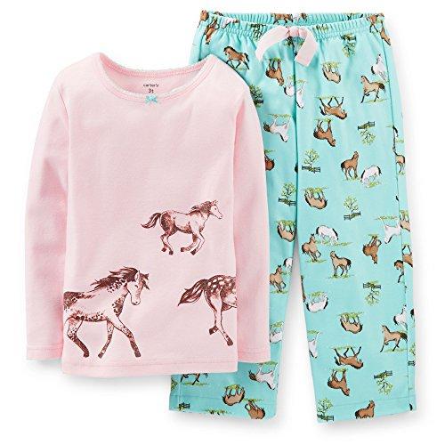 Carter'S Little Girls' 2 Piece Cotton Fleece Pajamas - Horses (3 Toddler, Pink) front-162555