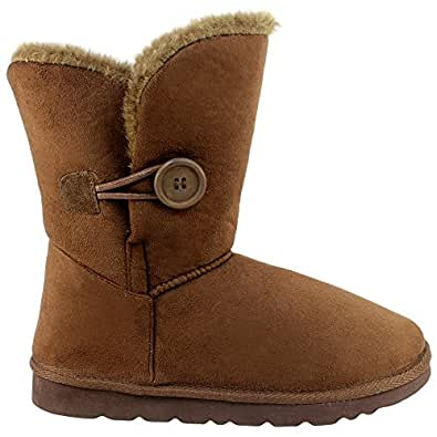 Womens Single Button Short Classic Fur Lined Winter Rain Snow Boots - Brown - 5 - 36 - AEA0082