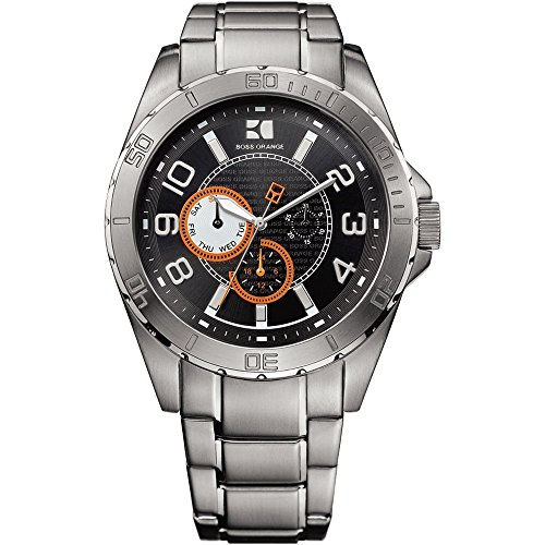Hugo Boss Mens Gents Orange 1512836 Multifunction Black Dial Bracelet Wrist Watch