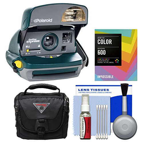 Polaroid 600 Round Instant Film Camera (Green) - Refurbished by Impossible with Instant Color Film + Case + Kit - POLAROID