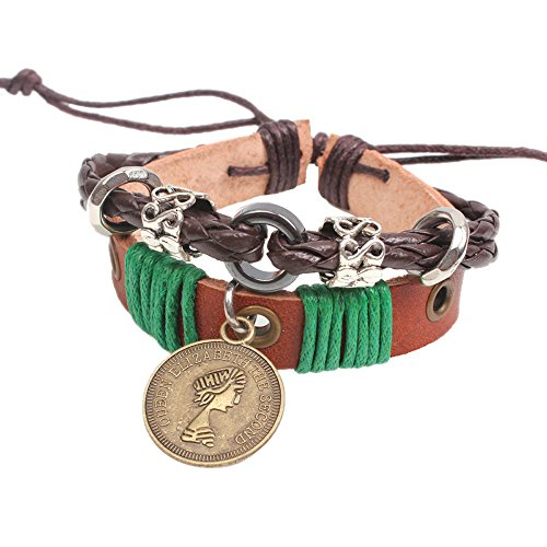 Winter's Secret Green Rope Adjustable Unisex Handmade Woven Restoring Queen Pattern Coin Pendant Braided Brown Leather Wrap Bracelet