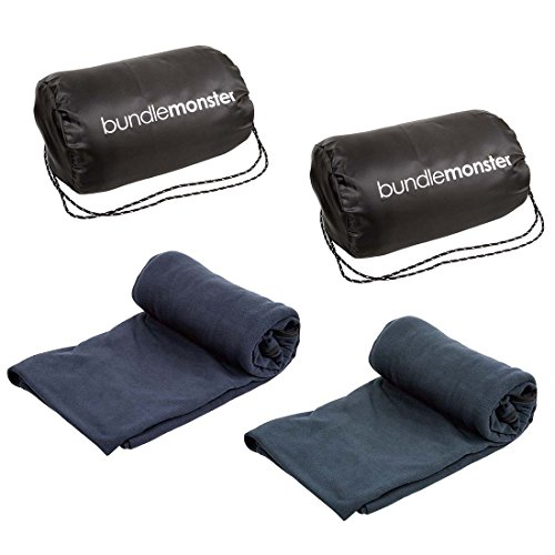 Bundle Monster 2pk Microfiber Fleece Adult Sleeping Bag Liner - Navy and Gray (Micro Sleeping Bag compare prices)