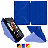 roocase Kindle Fire HD 7 2014 Case, new Kindle Fire HD 7 Origami 3D Slim Shell Case with Sleep / Wake Smart Cover [Supports Landscape, Portrait, Typing Stand] for All-New 2014 Fire HD 7 Tablet (4th Generation), Palatinate Blue / Aruba Blue