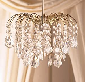 Elegant Large Gold Frame Waterfall Clear Acrylic Crystal Droplet Ceiling Light Fitting Pendant from Dove Mill Lighting