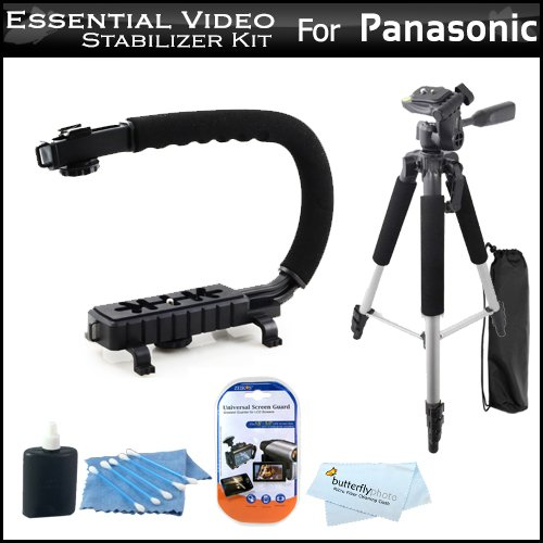 #!  Essential Video Stabilizer Kit For Panasonic HDC-HS80K HD HDD Camcorder Includes AXIS-G Camcorder Action Stabilizing Handle + 57 Full Tripod w/Case + LCD Screen Protectors + 3pc Cleaning KIt + MicroFiber Cloth