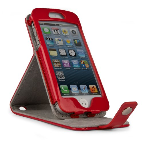 GLOSS CANDY Patent Leather Flip Pouch Holder w/ Integrated Level Stand for Apple iPod Touch 5th Generation - FIRE RED