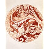 Design for a dish with grotesque beasts and winged serpent, by William de Morgan (V&A Custom Print)