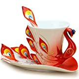 Cozyswan® Collectable Fine Arts China Porcelain Tea Cup and Saucer Coffee Cup Peacock Theme Romantic Creative Present red
