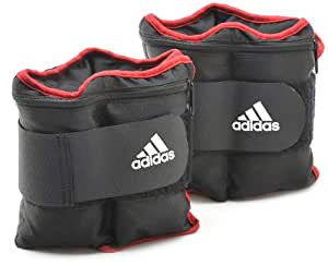 ADIDAS Adjustable 2 x 1.0 Kg Ankle Weights - Black/Red/White