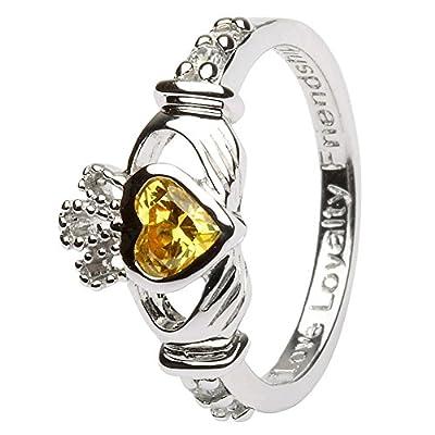 NOVEMBER Birth Month Silver Claddagh Ring LS-SL90-11. Made in Ireland.