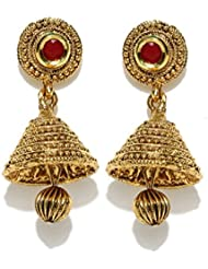 Zaveri Pearls Jhumka Earrings Traditional In Antique Gold Look With Gold Ball Drop - ZPFK5031