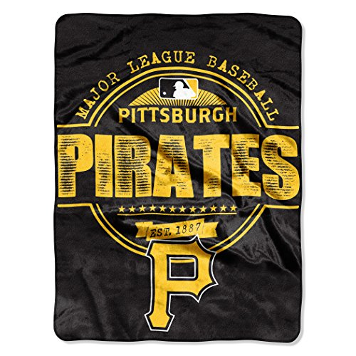"MLB Pittsburgh Pirates ""Structure"" Micro-Raschel Throw, Black, 46 x 60-Inch"
