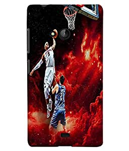 Fuson Premium Basket Ball Printed Hard Plastic Back Case Cover for Microsoft Lumia 540