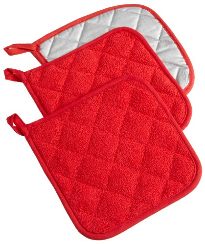 DII 100% Cotton, Machine Washable, Quilted Everyday Heat Resistant Kitchen Basic Terry Potholder Set of 3, Red
