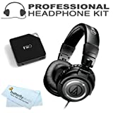 Audio-Technica ATH-M50S Professional Studio Monitor Headphones - with Straight Cable with FiiO E6 Headphone Amplifier