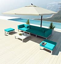 Hot Sale NEW Uduka Modern Outdoor Sectional Patio Furniture Dana C7 Turquoise All Weather Couch Sofa Set