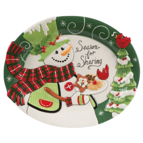Fitz And Floyd Holly Hat Snowman Cookie Platter