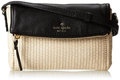 kate spade new york Cobble Hill Straw Mini Carson Cross Body Bag,Pale Natural/Black,One Size