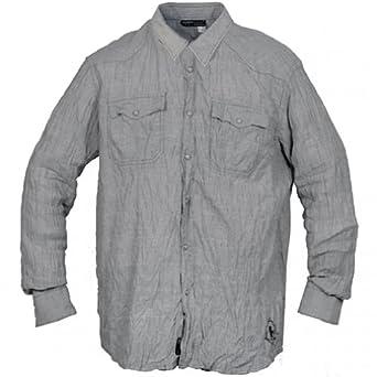 Rocawear mens grenadae stripe button down for Mens grey button down dress shirt