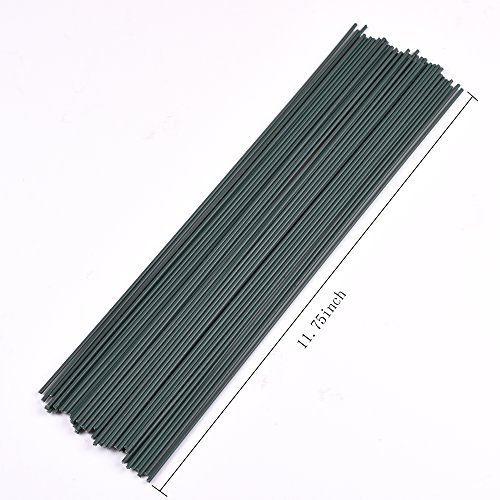 BCP Dark Green 50PCS 22 Guage 30CM / 11.75INCH Length Iron Wire , Artificial Flower Stems Making Accessory , Floral Arrangement Accessory (Stem Wire compare prices)