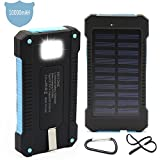 Solar Charger Battery Matone® Portable 10000mAh Solar Battery Charger Shockproof With Light Dual USB output Solar Powered Phone Charger for iPhone, iPod, iPad, Samsung, HTC, GPS & Gopro Camera (Blue)