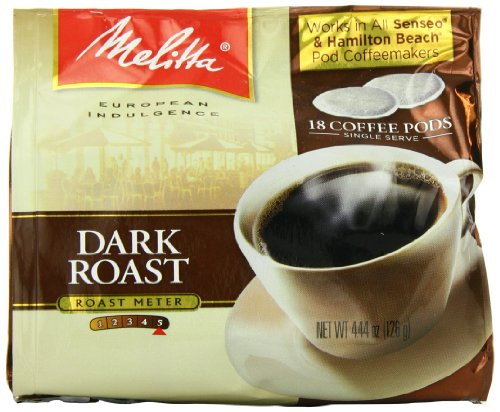Melitta Coffee Pods for Senseo and Hamilton Beach Pod Brewers, Dark Roast, 18 pods, (Pack of 6)