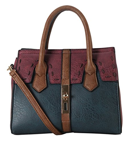 diophy-pu-leather-two-tone-front-turn-lock-suture-line-decor-mini-top-handle-tote-womens-purse-handb
