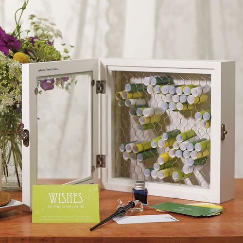 Raebella Weddings Country Charm Wooden Wish Box With 80 Personalized Stationery Paper Wish Scrolls back-1041602