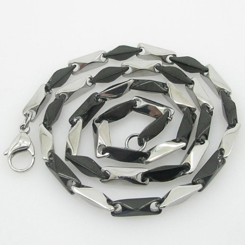 Mens 316L Stainless steel franco box ball wheat curb popcorn rope fancy chain black and white hand made link chain black and white hand made link chain