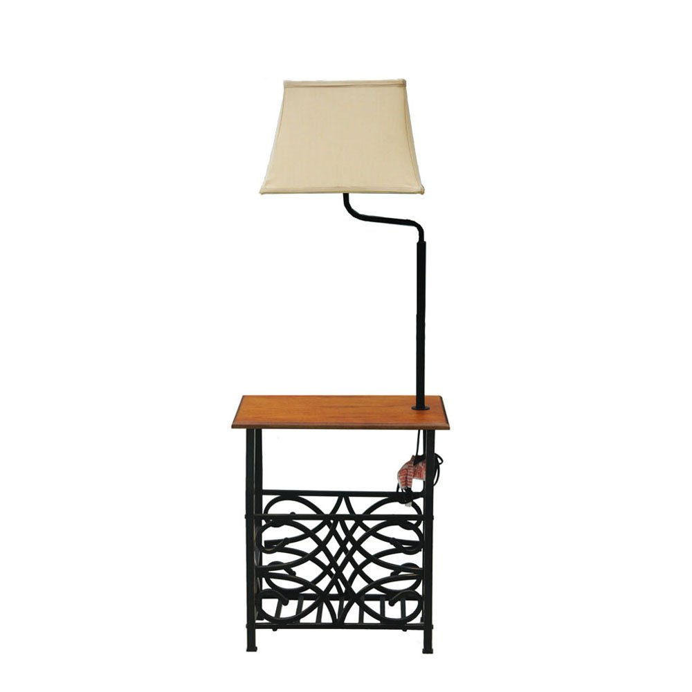 Goodygogo Table with Build-in Floor Lamp & Magazine Holder Bronze Finish