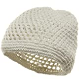 Hand Crocheted Beanie (01)-White W16S28E