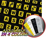 ENGLISH US LARGE LETTERING KEYBOARD STICKER (UPPER CASE) YELLOW BACKGROUND FOR DESKTOP, LAPTOP AND NOTEBOOK