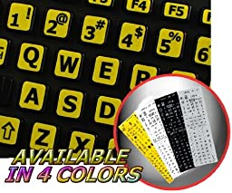 ENGLISH US LARGE LETTERING KEYBOARD STICKERS (UPPER CASE) ON YELLOW BACKGROUND